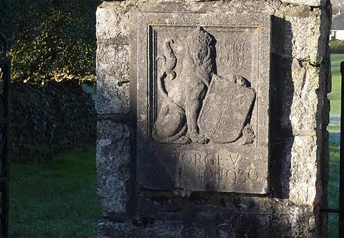 Photo Gallery Image - Playing Fields Gate Post showing an engraving of a lion